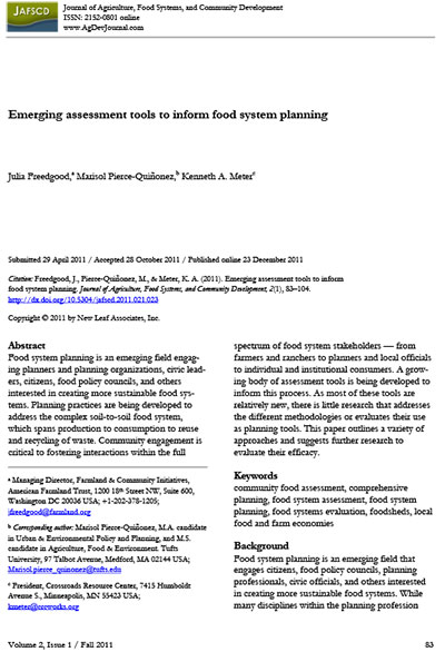 emerging assessment tools to inform food system planning growing