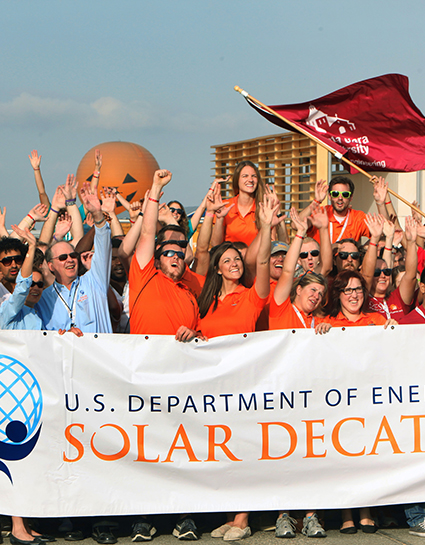 The Solar Decathlon 2013 teams cheer ahead of the start of competition at the Orange County Great Park in Irvine, CA on October 3, 2013 (Credit: Stefano Paltera/U.S. Department of Energy Solar Decathlon)